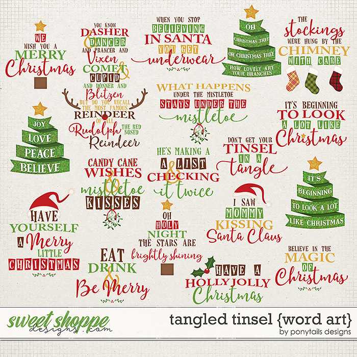Tangled Tinsel Word Art by Ponytails