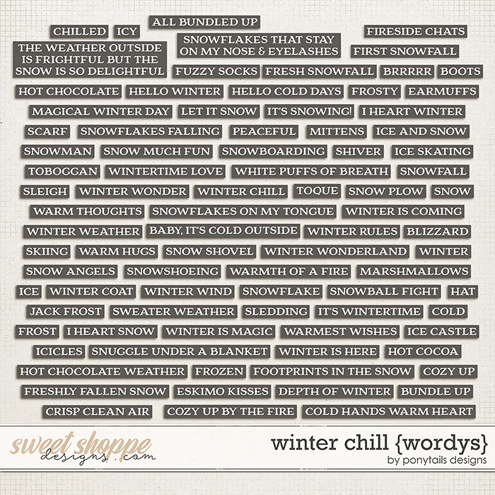 Winter Chill Wordys by Ponytails