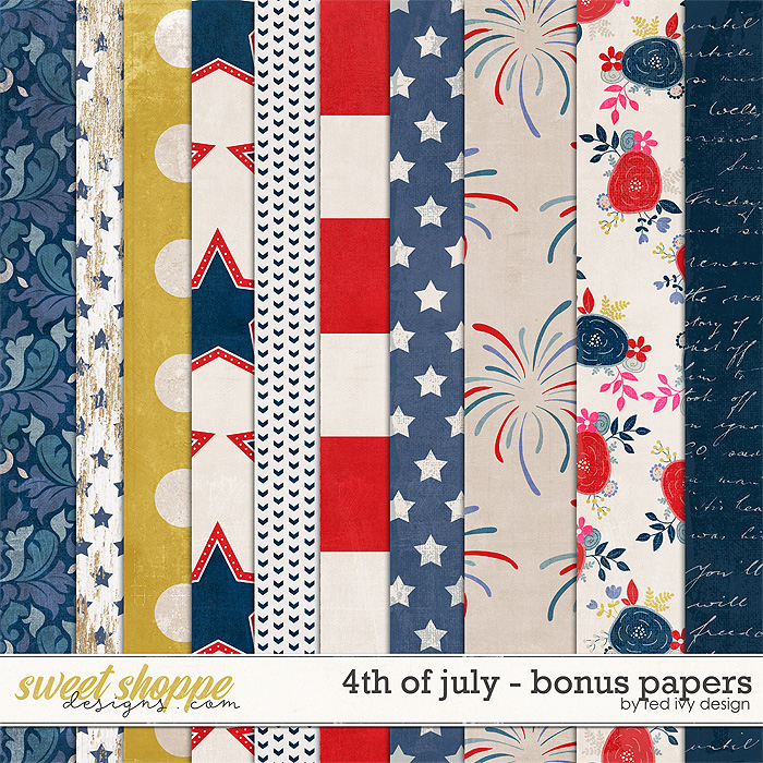 4th of July - Bonus Papers by Red Ivy Design