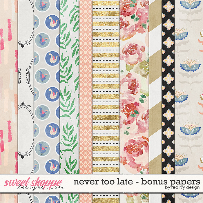 Never Too Late - Bonus Papers by Red Ivy Design