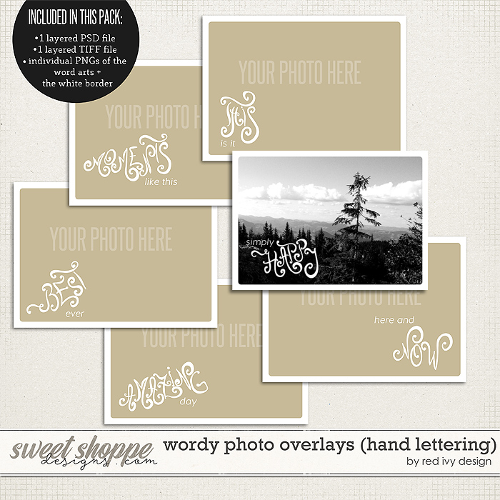 Wordy Photo Overlays (Hand Lettering) by Red Ivy Design