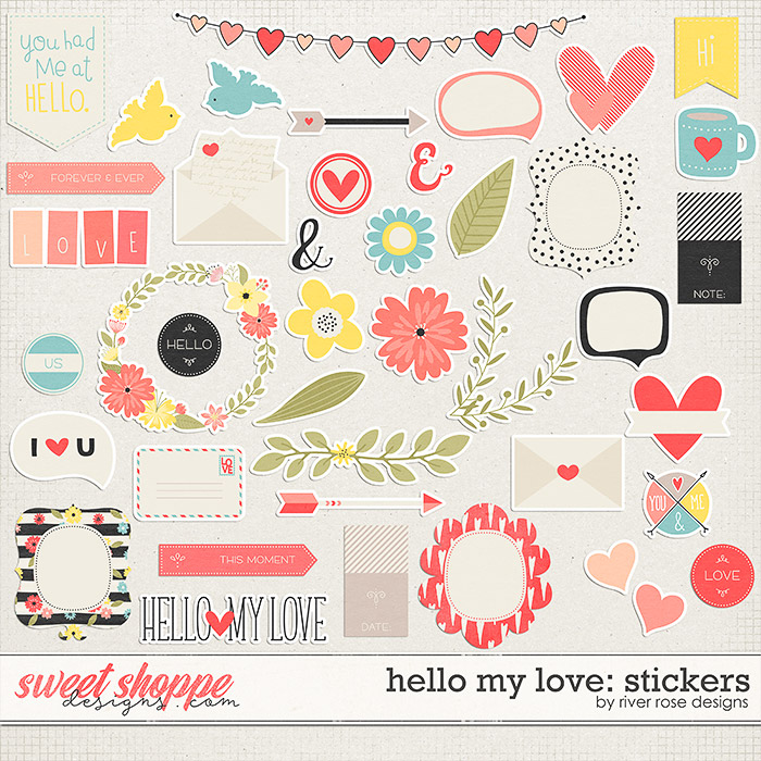 Hello My Love: Stickers by River Roose Designs
