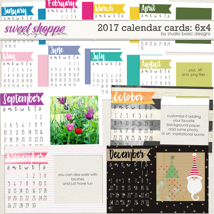 2017 Calendar Cards: 6x4 by Studio Basic