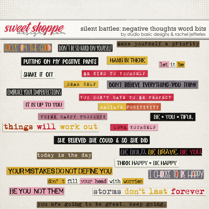 Silent Battles: Negative Thoughts - Word Bits by Studio Basic Designs & Rachel Jefferies