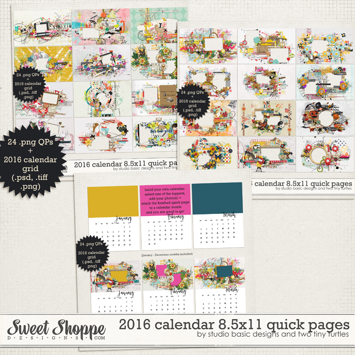 2016 Calendar 8.5x11 Quick Pages by Studio Basic and Two Tiny Turtles