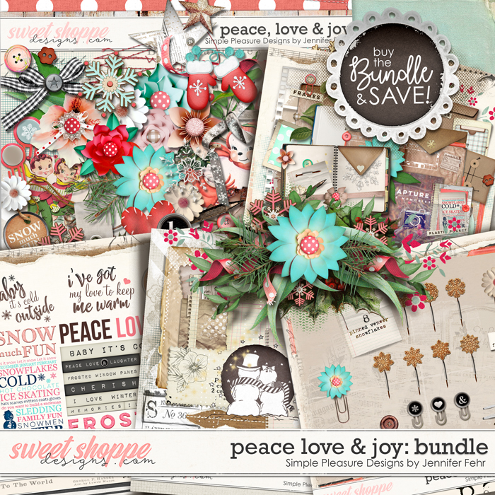 Peace Love & Joy Bundle:  Simple Pleasure Designs by Jennifer Fehr