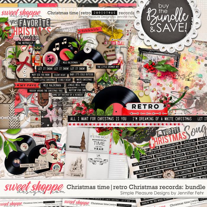 Christmas time | retro Christmas records bundle: simple pleasure designs by Jennifer Fehr