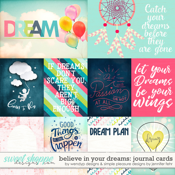 believe in your dreams journal cards: be wendyp designs & simple pleasure designs by jennifer fehr