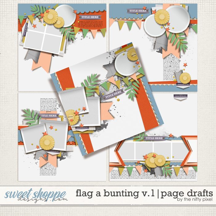 FLAG A BUNTING V.1   PAGE DRAFTS by The Nifty Pixel