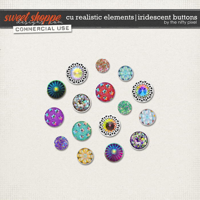 CU REALISTIC ELEMENTS | IRIDESCENT BUTTONS by The Nifty Pixel