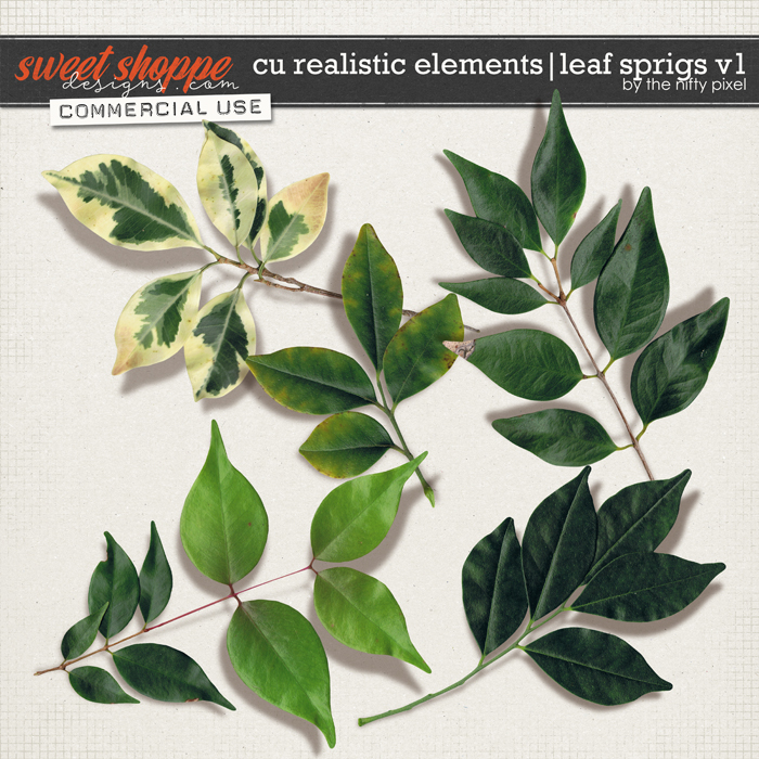 CU REALISTIC ELEMENTS   LEAF SPRIGS V.1 by The Nifty Pixel