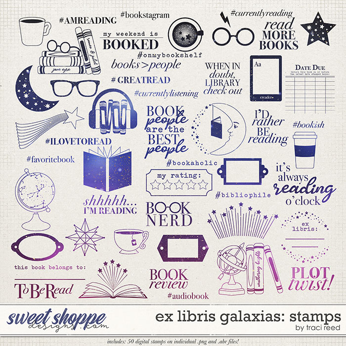Ex Libris Galaxias Stamps by Traci Reed