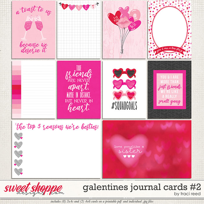 Galentines Journal Cards #2 by Traci Reed