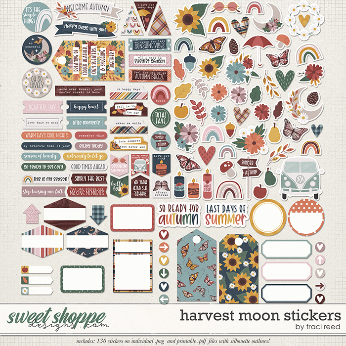 Harvest Moon Stickers by Traci Reed