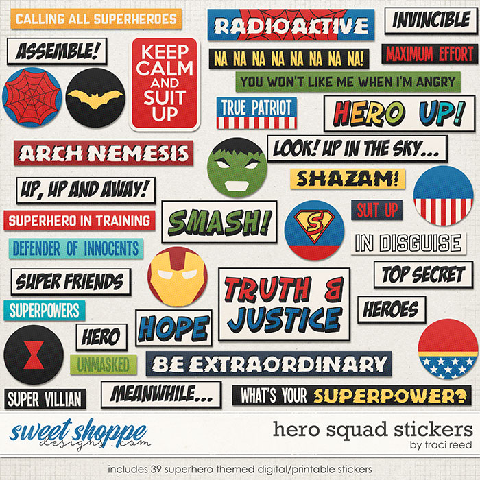 Hero Squad Stickers by Traci Reed