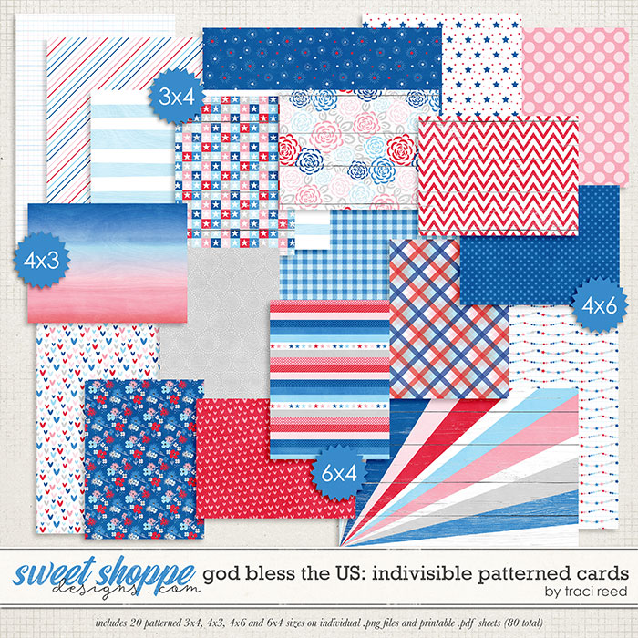 God Bless The US: Indivisible Patterned Cards by Traci Reed