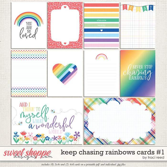 Keep Chasing Rainbows Journal Cards #1 by Traci Reed