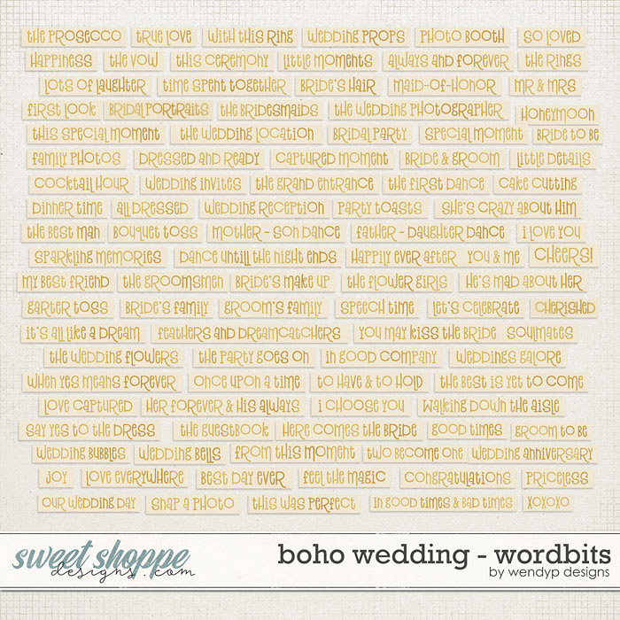 Boho Wedding  - wordbits by WendyP Designs