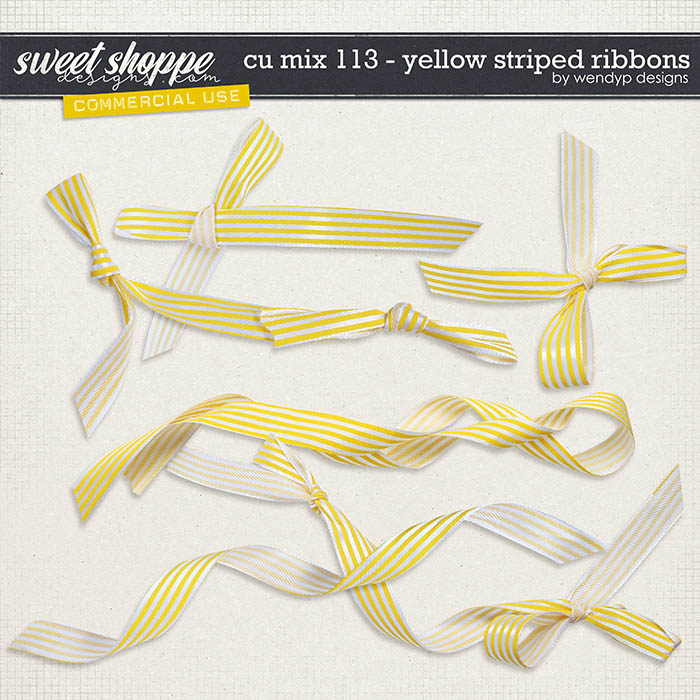 CU Mix 113 - Yellow Striped ribbons by WendyP Designs