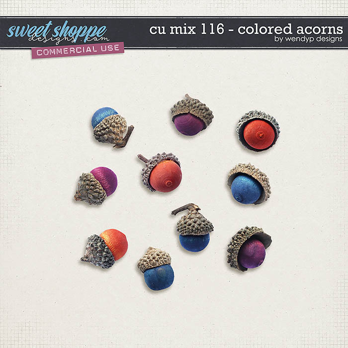 CU Mix 116 - Colored acorns by WendyP Designs