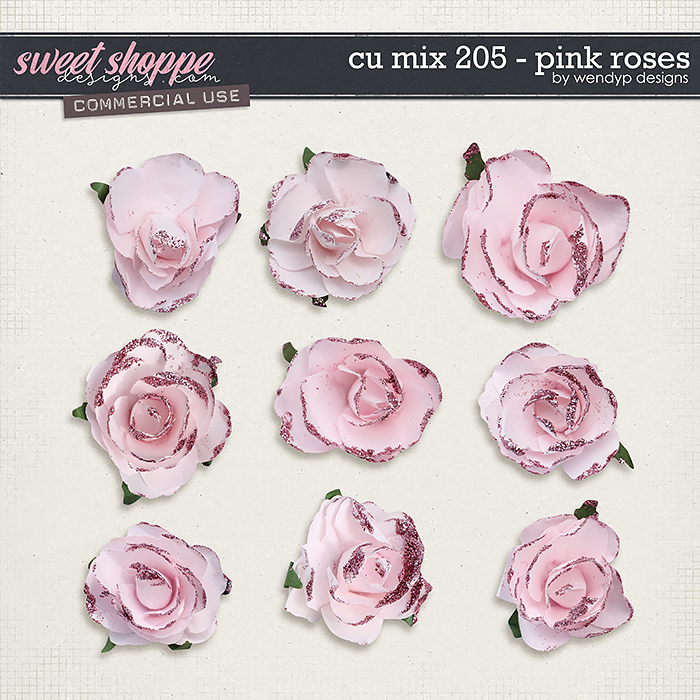CU Mix 205 - pink roses by WendyP Designs