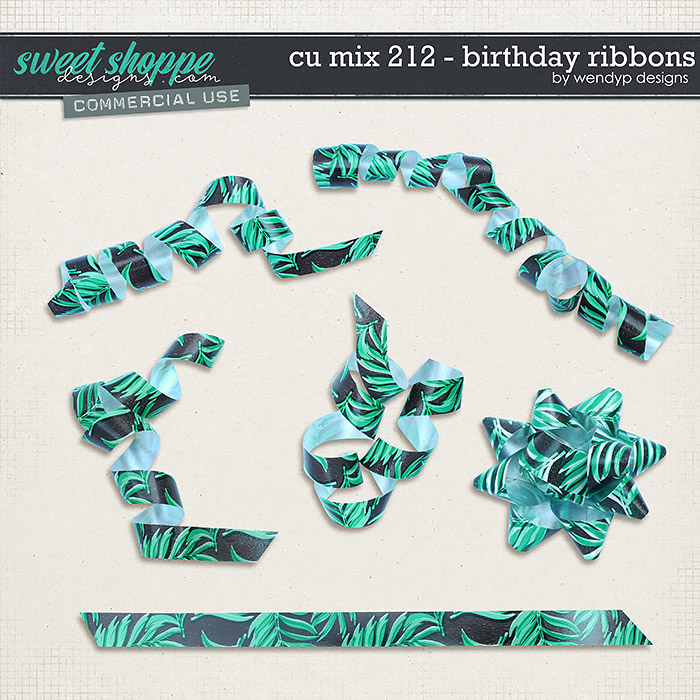 CU Mix 212 - birthday ribbons by WendyP Designs