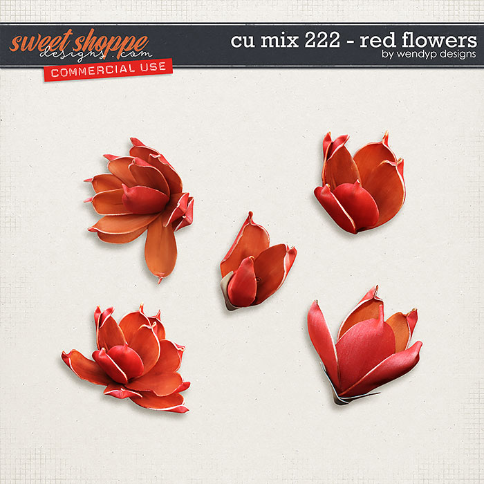 CU Mix 222 - Red flowers by WendyP Designs