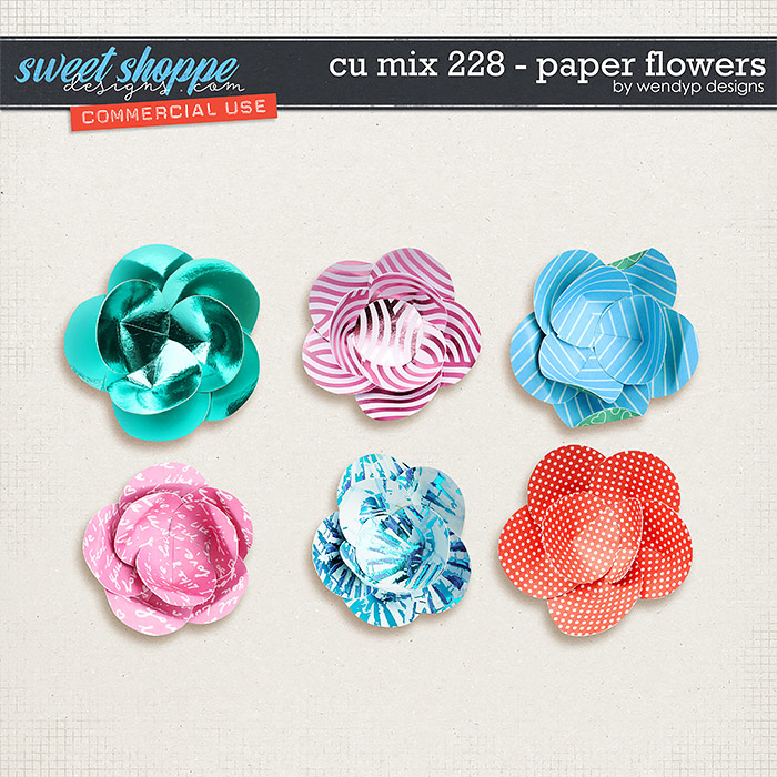 CU Mix 228 - paper flowers by WendyP Designs