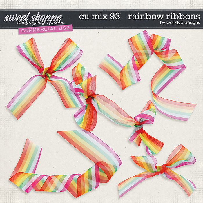 CU Mix 93 - Rainbow ribbons by WendyP Designs