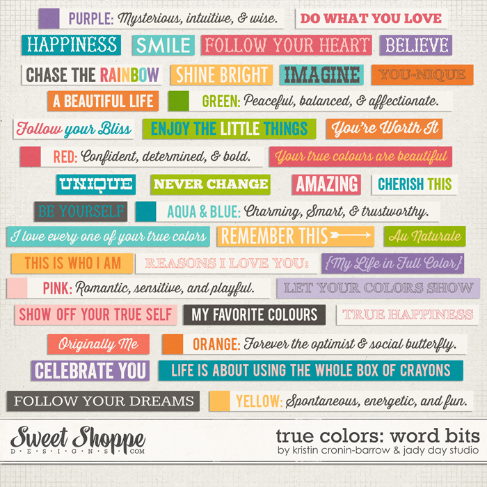 True Colors: Word Bits by Kristin Cronin-Barrow & Jady Day Studio
