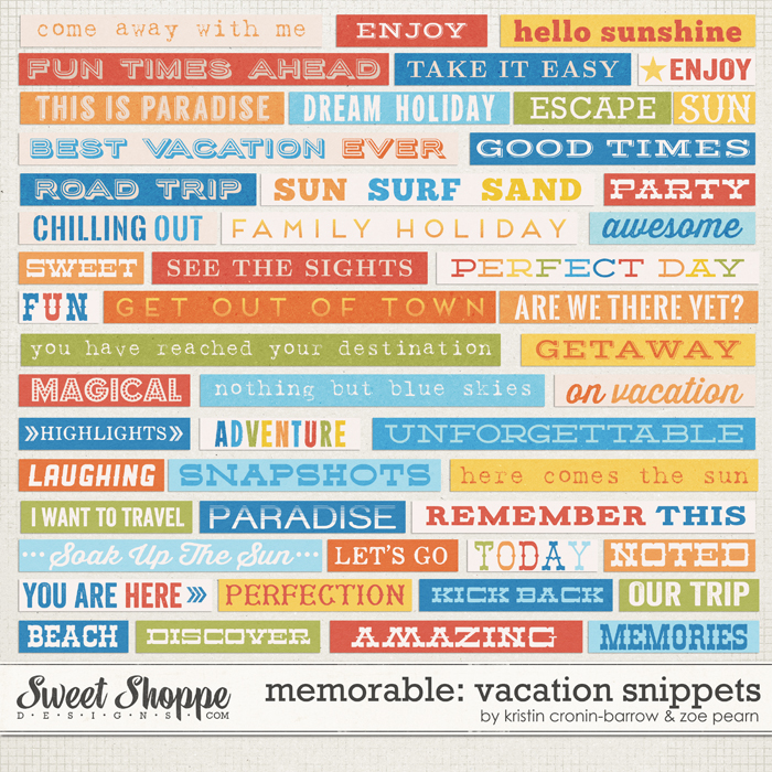Memorable: Vacation Snippets by Kristin Cronin-Barrow & Zoe Pearn