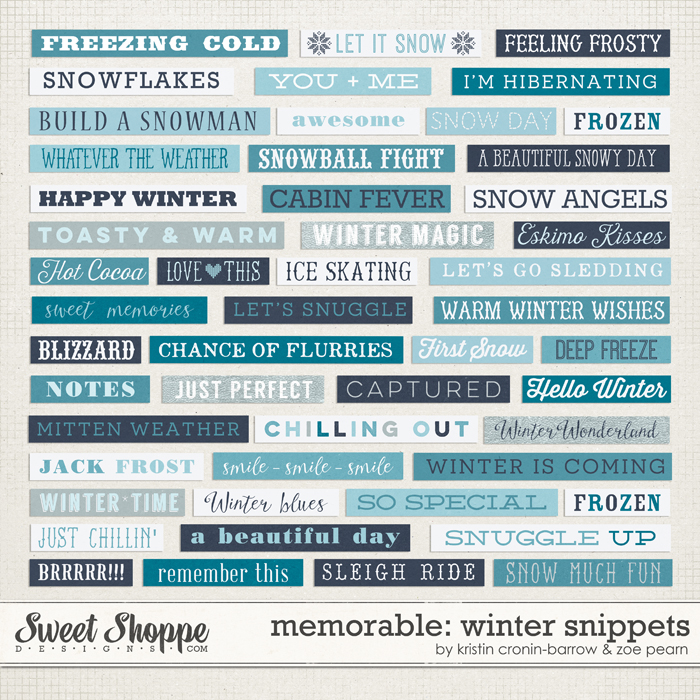 Memorable: Winter Snippets by Kristin Cronin-Barrow & Zoe Pearn