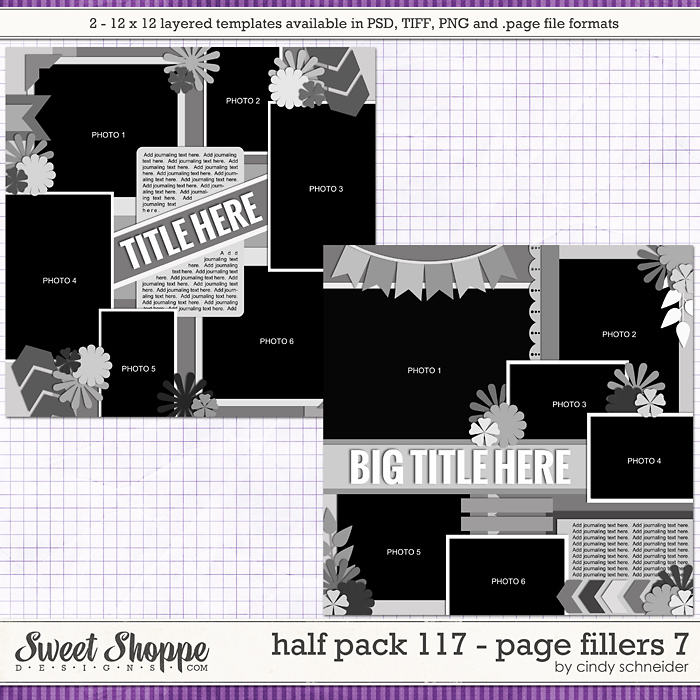 Cindy's Layered Templates - Half Pack 117: Page Fillers 7 by Cindy Schneider