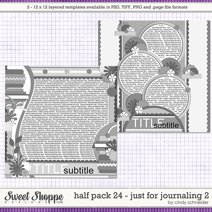 Cindy's Layered Templates - Half Pack 24 Just 4 Journaling 2 by Cindy Schneider