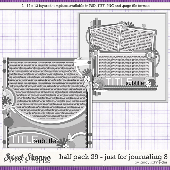 Cindy's Layered Templates - Half Pack 29 - Just for Journaling 3 by Cindy Schneider