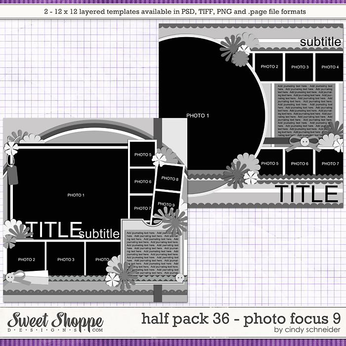 Cindy's Layered Templates - Half Pack 36: Photo Focus 9 by Cindy Schneider