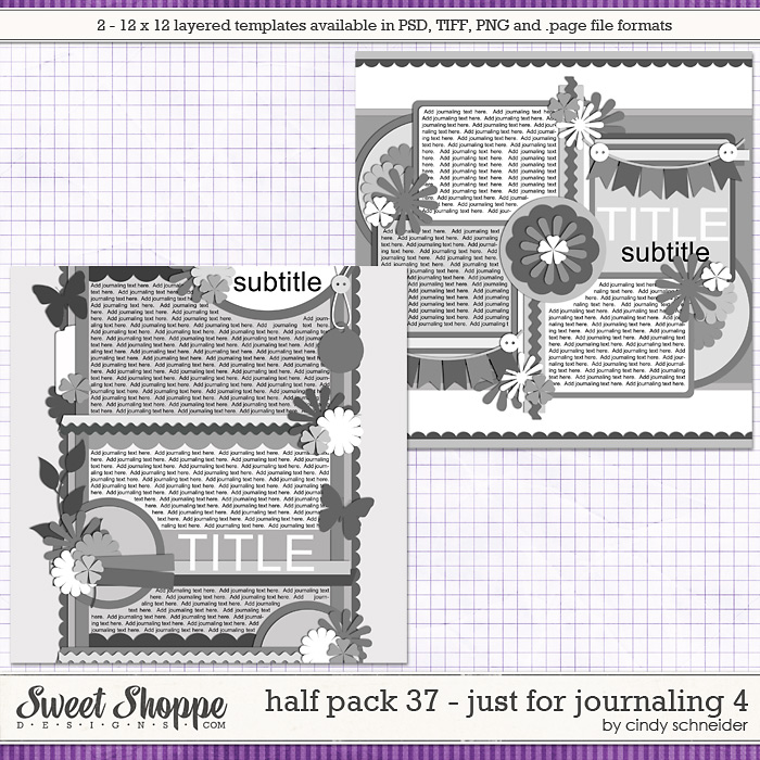 Cindy's Layered Templates - Half Pack 37  - Just for Journaling 4 by Cindy Schneider