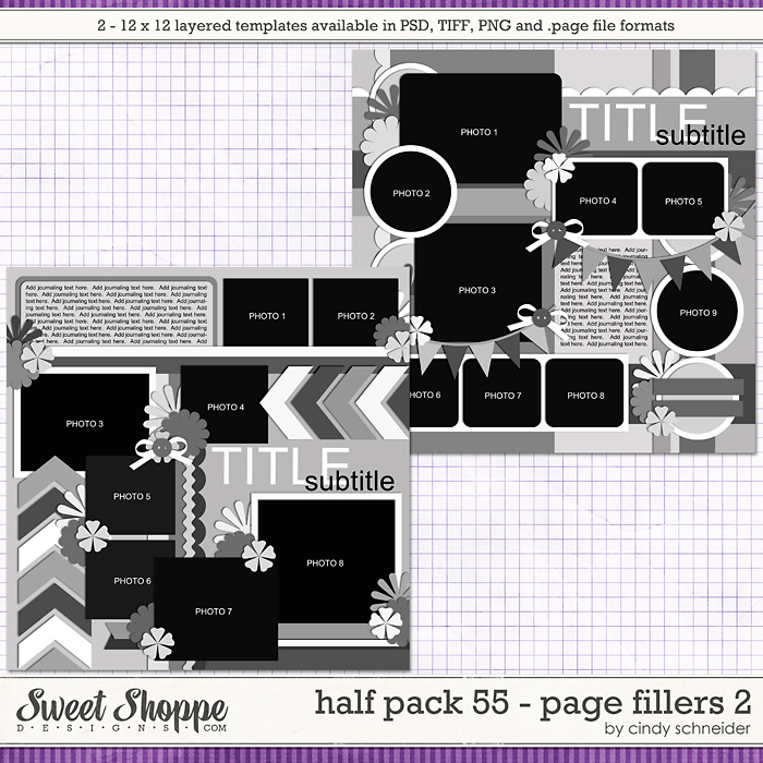 Cindy's Templates - Half Pack 55 Page Fillers 2