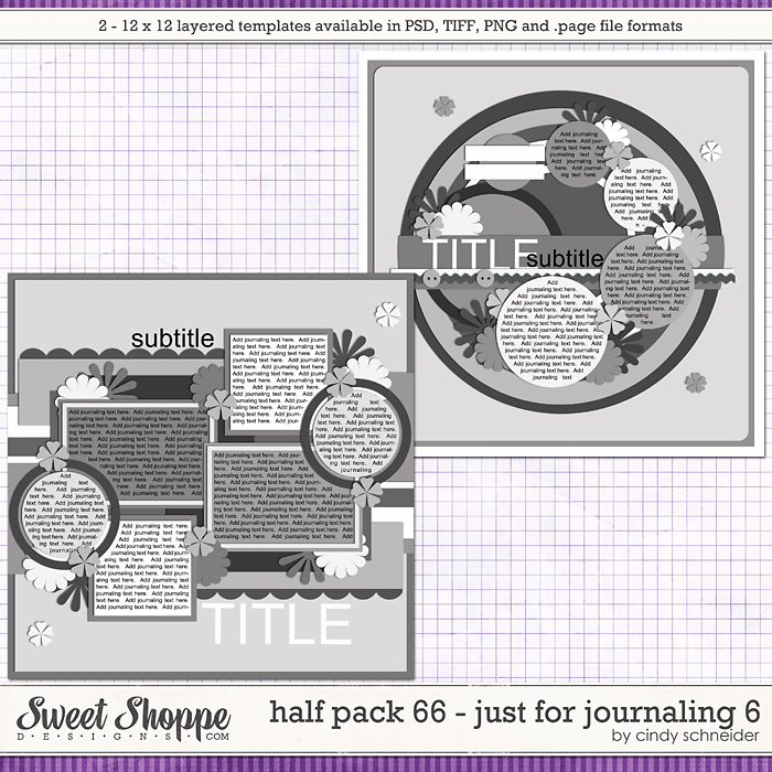 Cindy's Layered Templates - Half Pack 66: Just for Journaling 6 by Cindy Schneider
