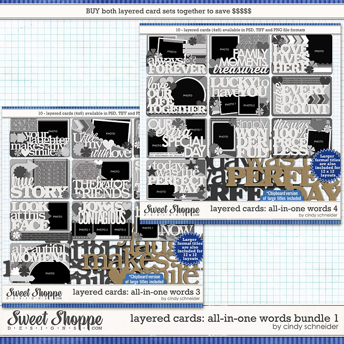 Cindy's Layered Cards:  All in One Words Bundle 1 by Cindy Schneider