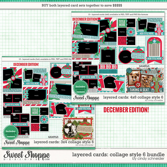 Cindy's Layered Cards: Collage Style 6 Bundle - Dec Ed. by Cindy Schneider