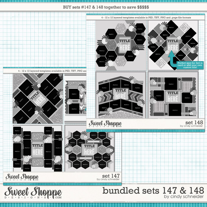 Cindy's Layered Templates - Bundled Sets #147-148 by Cindy Schneider