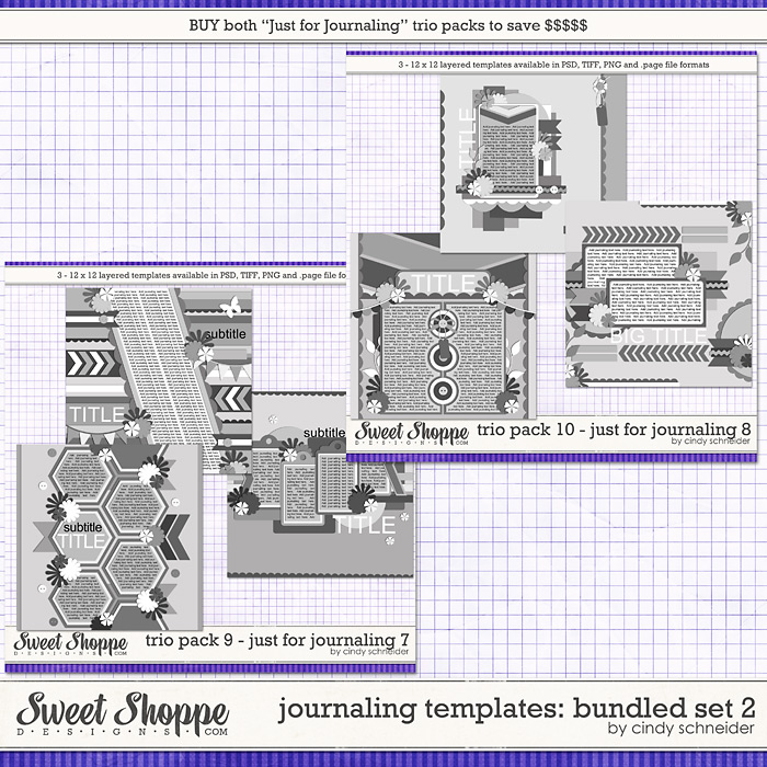 Cindy's Journaling Templates - Bundled Set 2 by Cindy Schneider