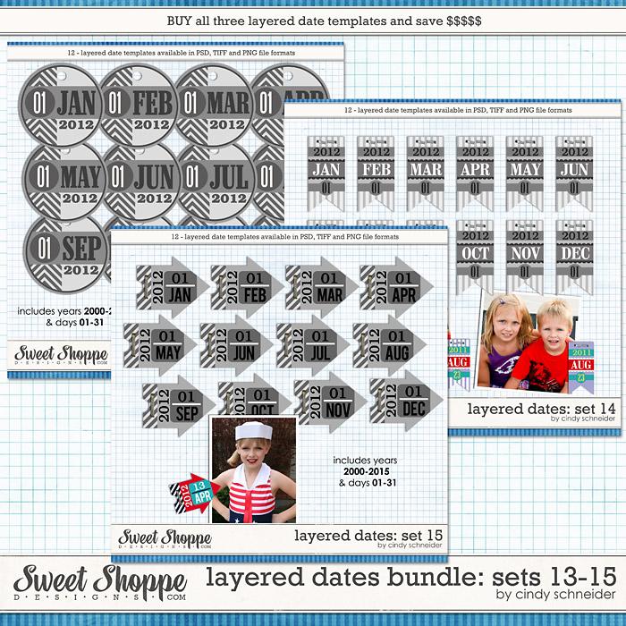 Cindy's Layered Dates Bundle: Sets 13-15 by Cindy Schneider