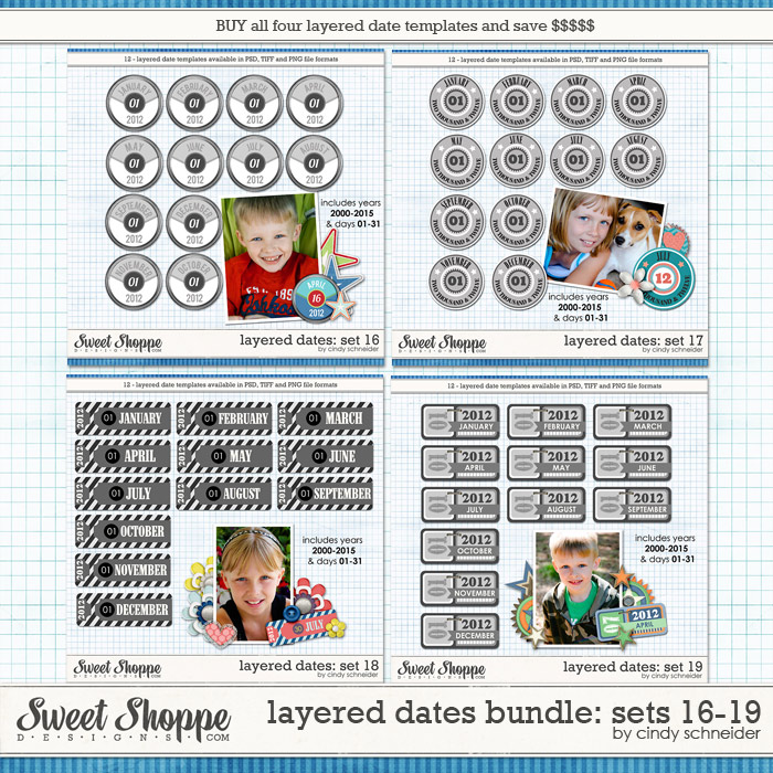 Cindy's Layered Dates Bundle: Sets 16-19 by Cindy Schneider