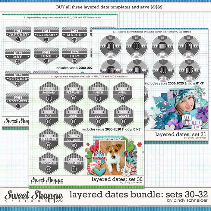 Cindy's Layered Dates Bundle: Set 30-32 by Cindy Schneider