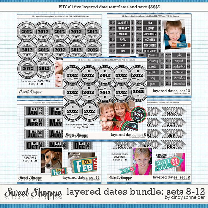 Cindy's Layered Dates Bundle: Sets 8-12 by Cindy Schneider