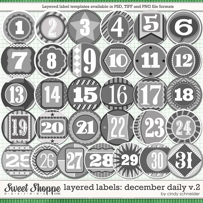 Cindy's Templates: Layered Labels - December Daily V2