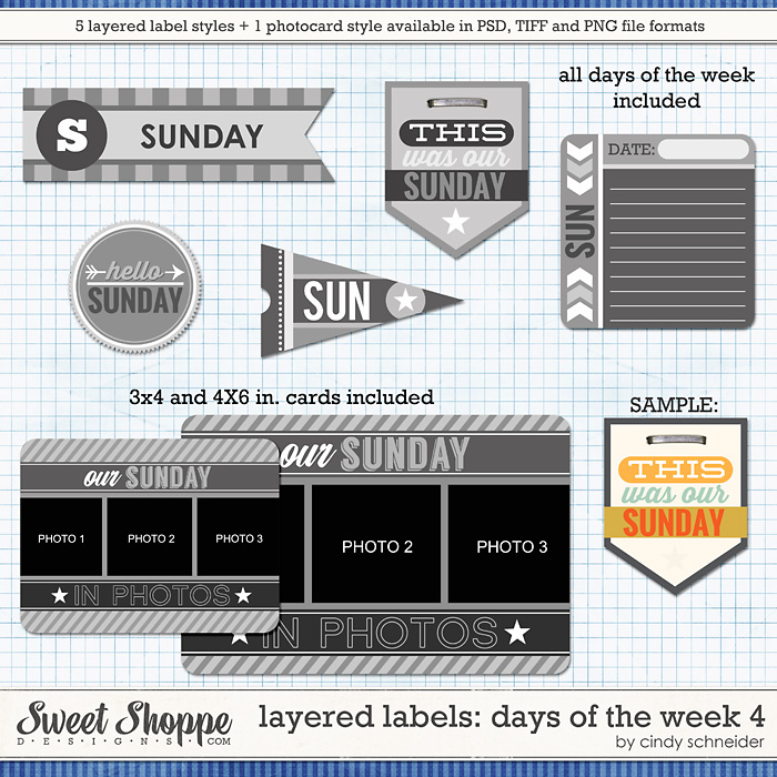 Cindy's Layered Labels: Days of the Week 4 by Cindy Schneider