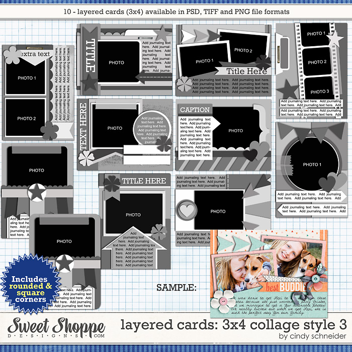 Cindy's Layered Cards: 3x4 Collage Style 3 by Cindy Schneider